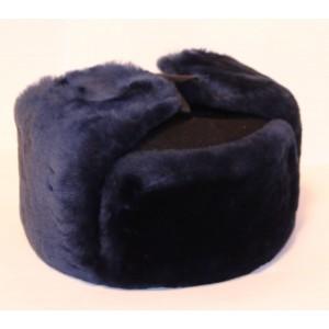 Шапка ушанка (нат.мех) темно синего цвета