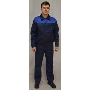 Костюм рабочий темно-синий с васильковыми вставками