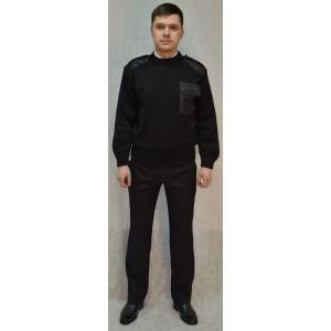 Джемпер форменный черный круглый вырез
